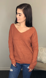Knit Sweater with Twist Back Detailing in Rust