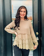 Olive Green Pleated Long Sleeve Top