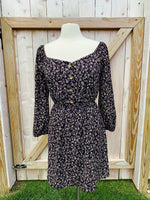 Black & Tan Floral Dress with Button Front - Off-Shoulder