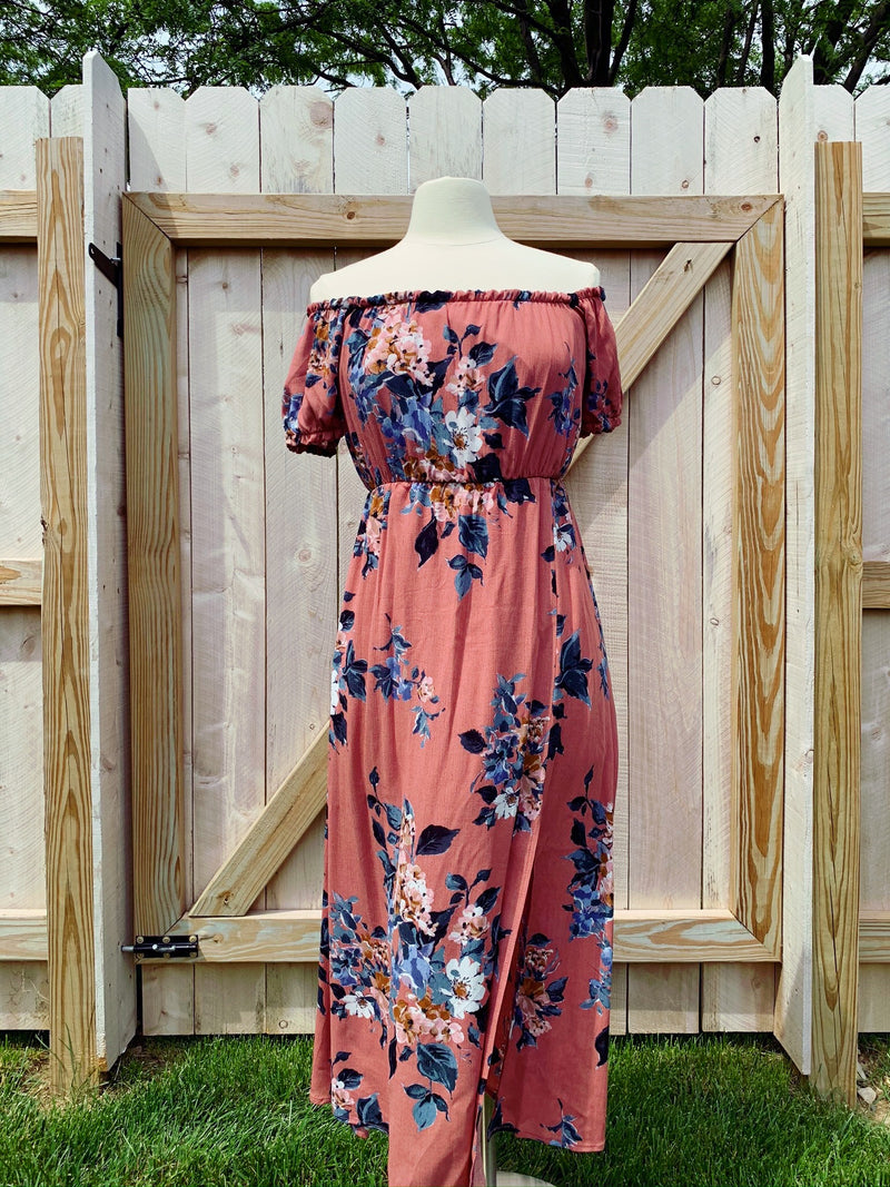 Off-Shoulder Floral Dress with Side Slit