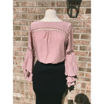 Long Sleeve Mauve Top with Bell Sleeves