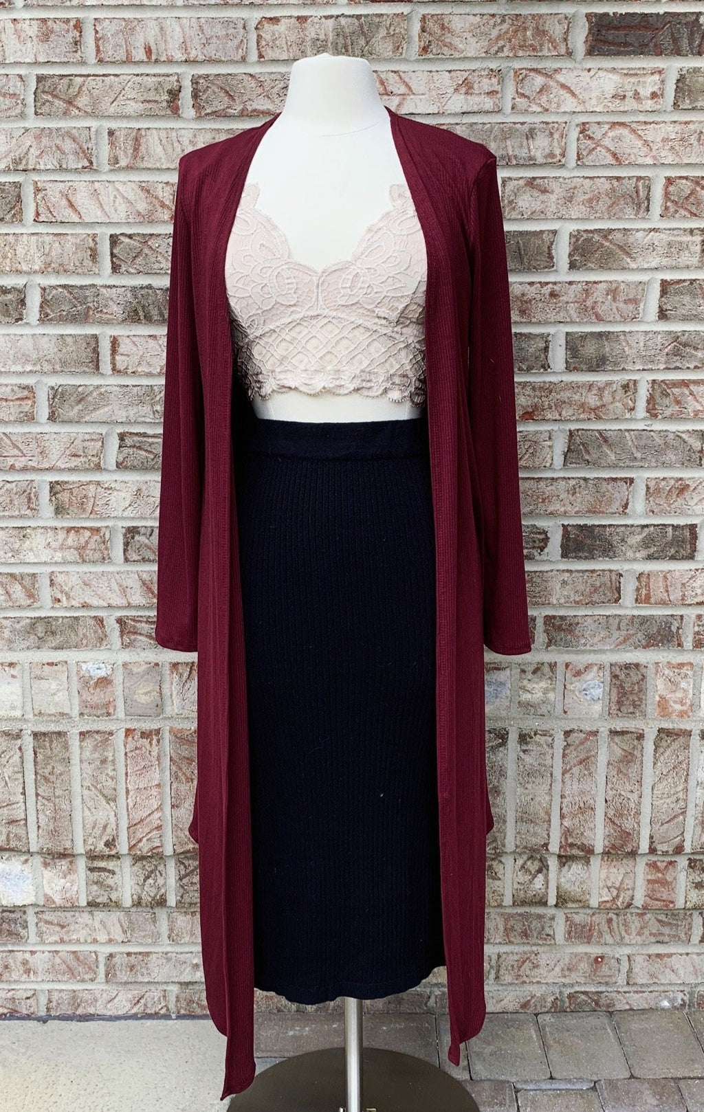 Ribbed Knit Long Cardigan in Maroon - Long Sleeve