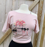 Blush Graphic Tee - Fancy Off-Shoulder
