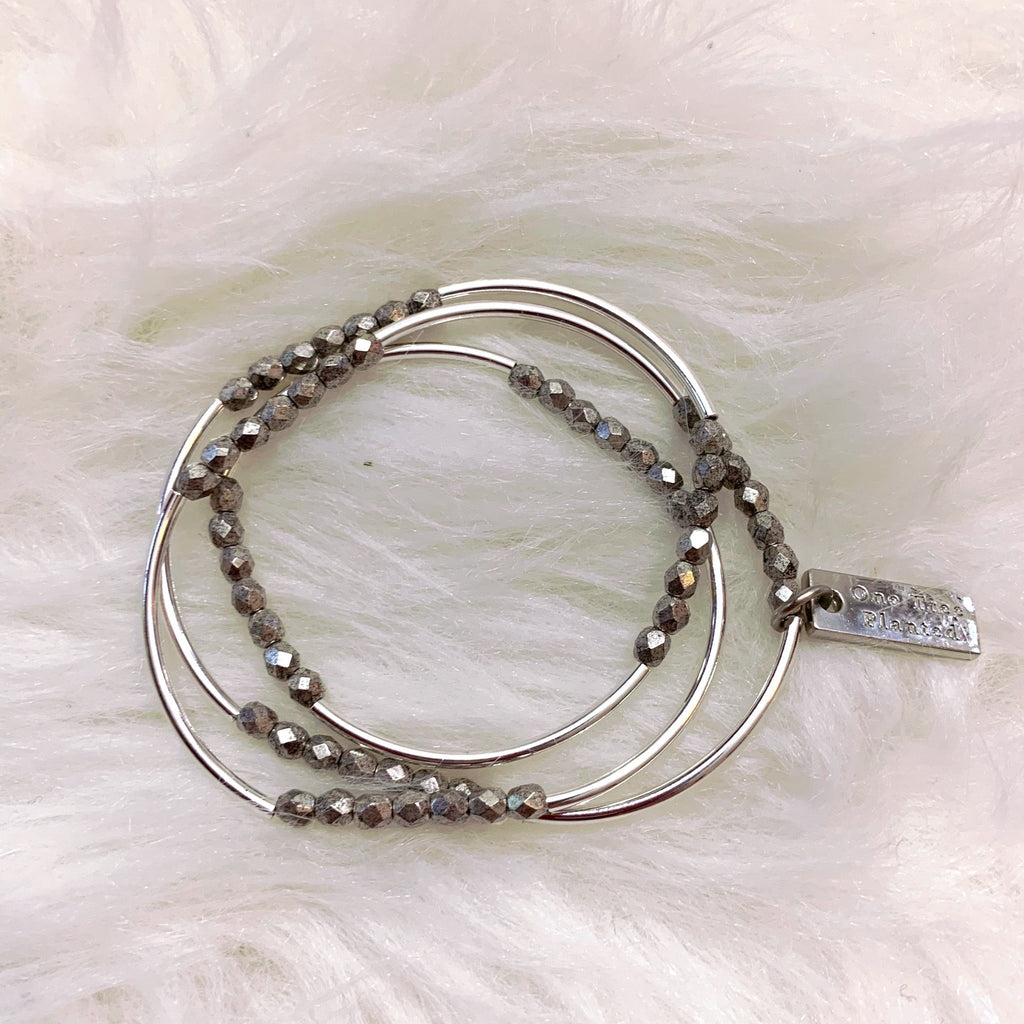 Triple Wrapped Silver & Matte Silver Bracelet *Each purchase plants a tree