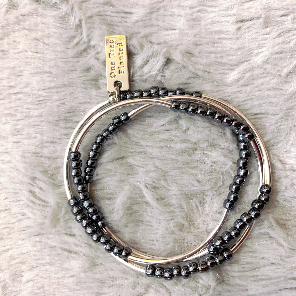 Triple Wrapped Silver & Dark Silver Bracelet *Each purchase plants a tree