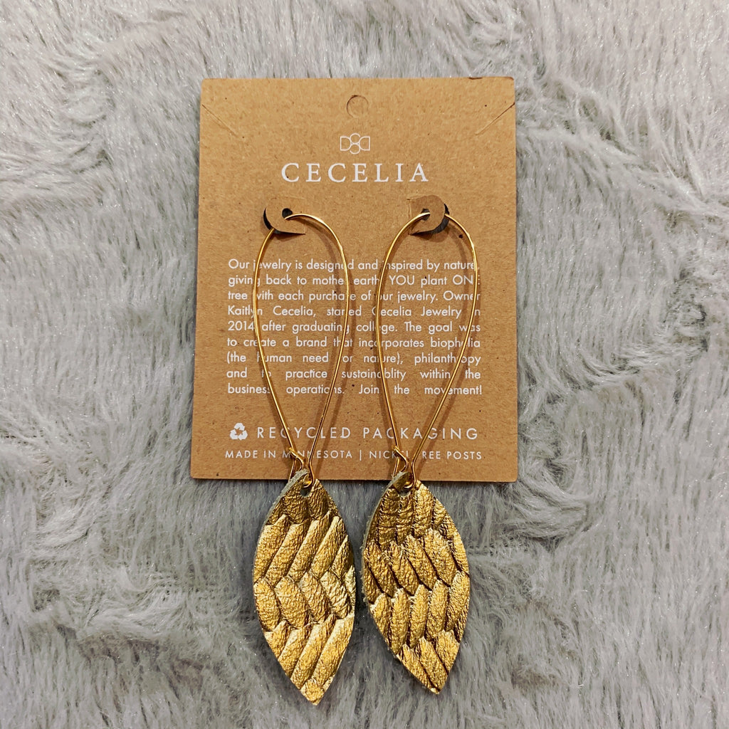 Gold Braided Leather Leaf Earrings *Each purchase plants a tree