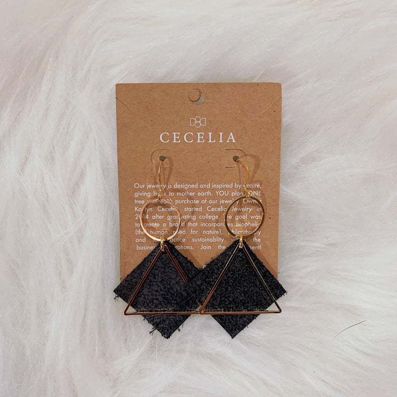 Unique Leather and Gold Earrings  *Each purchase plants a tree
