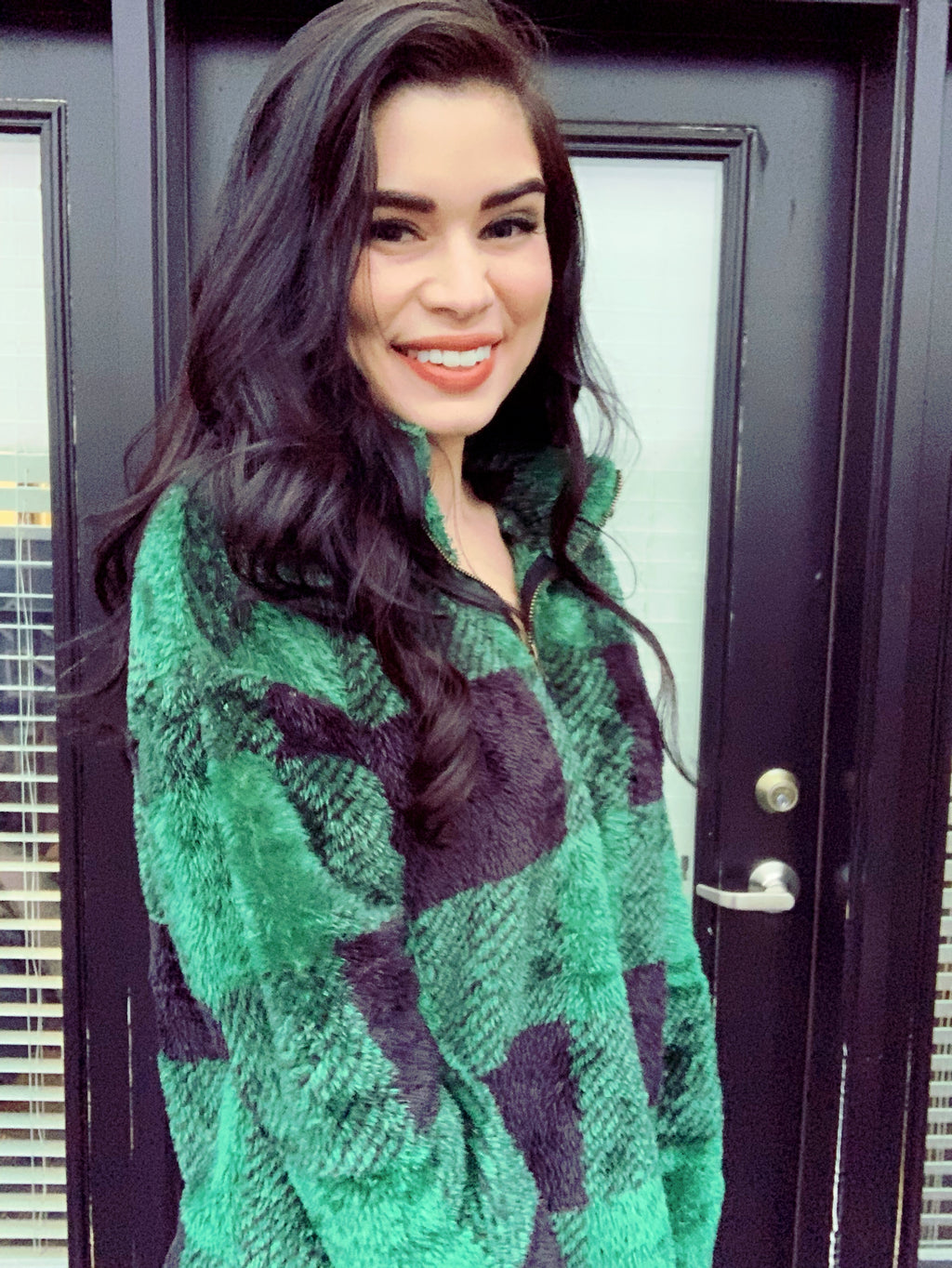 Green and Black Plaid Fluffy Half-Zip Pullover