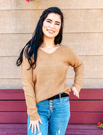 Knit Sweater with Twist Back Detailing in Beige