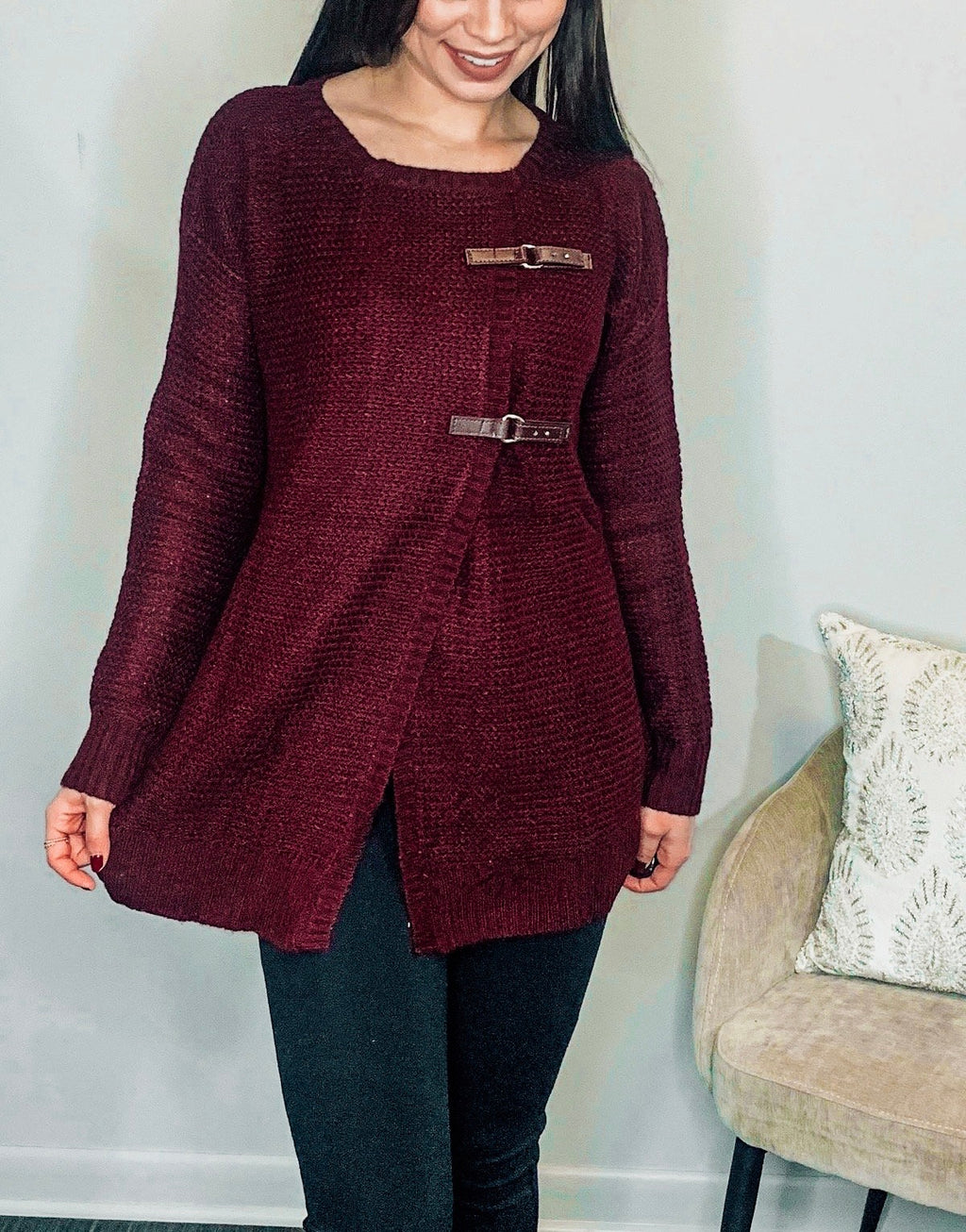 Burgundy Long Sleeve Sweater Cardigan with Belt