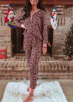 Pink Leopard Loungewear - Set of Long Sleeve & Pants