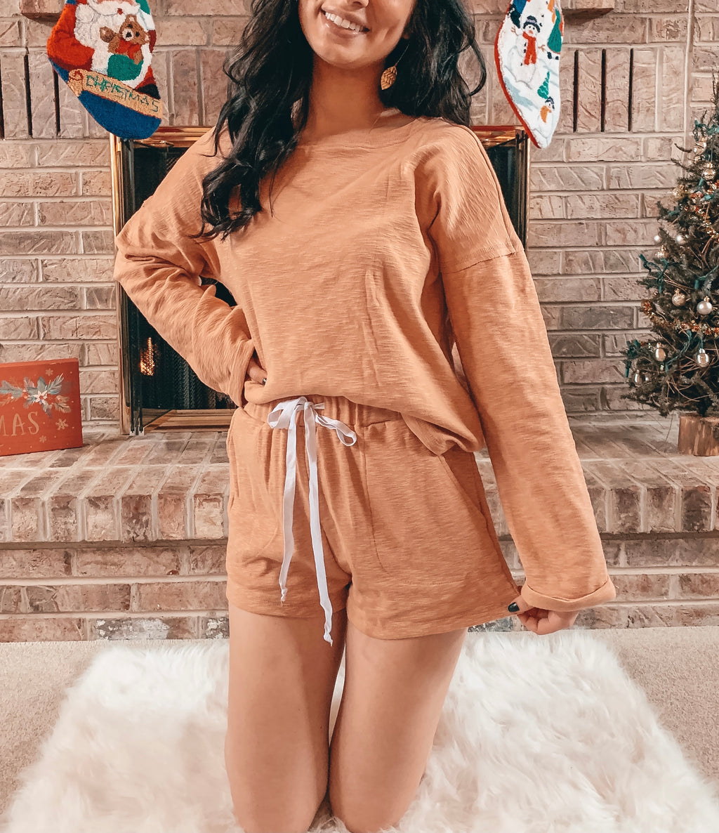 Burnt Orange Lounge Set - Shorts and Long-Sleeve