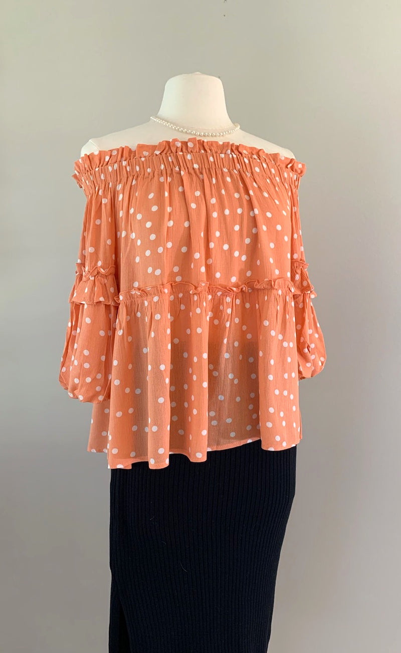 Peach Off Shoulder Polka Dot Top