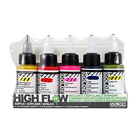High Flow Acrylics & Refillable Marker Set