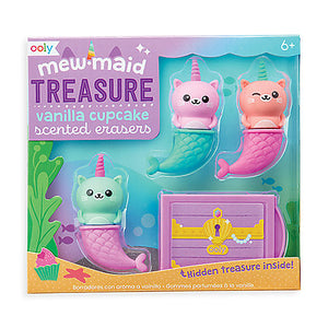 Mewmaid Treasure Vanilla Cupcake Scented Eraser Set - Odd Nodd Art Supply