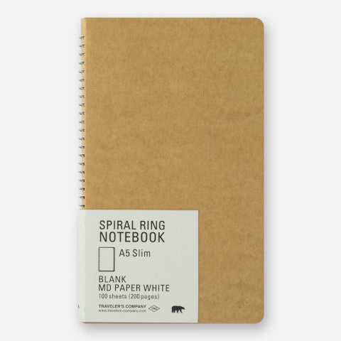 A5 Slim Spiral Notebook Blank MD Paper Traveler's Company - Odd Nodd Art Supply