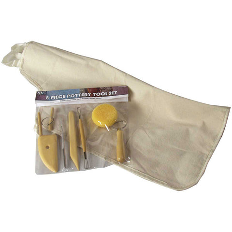 Art Advantage Pottery Tool Kit With Apron 8 Piece Set