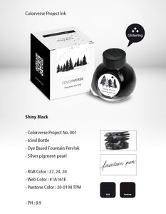 Colorverse Project Fountain Pen Ink Shiny Black Glistening - Odd Nodd Art Supply