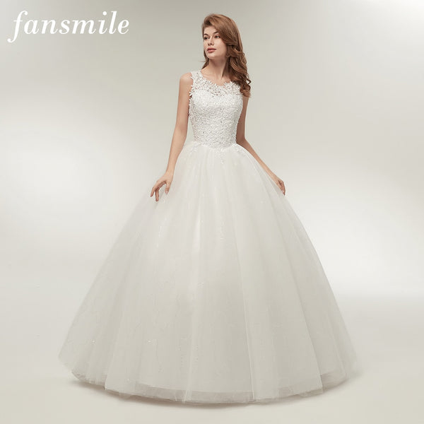Fansmile Korean Lace Up Ball Gown Quality Wedding Dresses 2019 Alibaba Customized Plus Size Bridal Dress Real Photo Fsm 002f