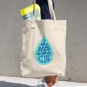 Sensitive (blue) Hand Lettered Tote Bag