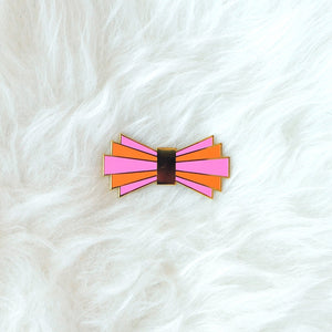 Art Deco Bow Tie Pin (pink & orange)
