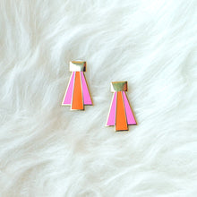 Art Deco Earrings (pink & orange)