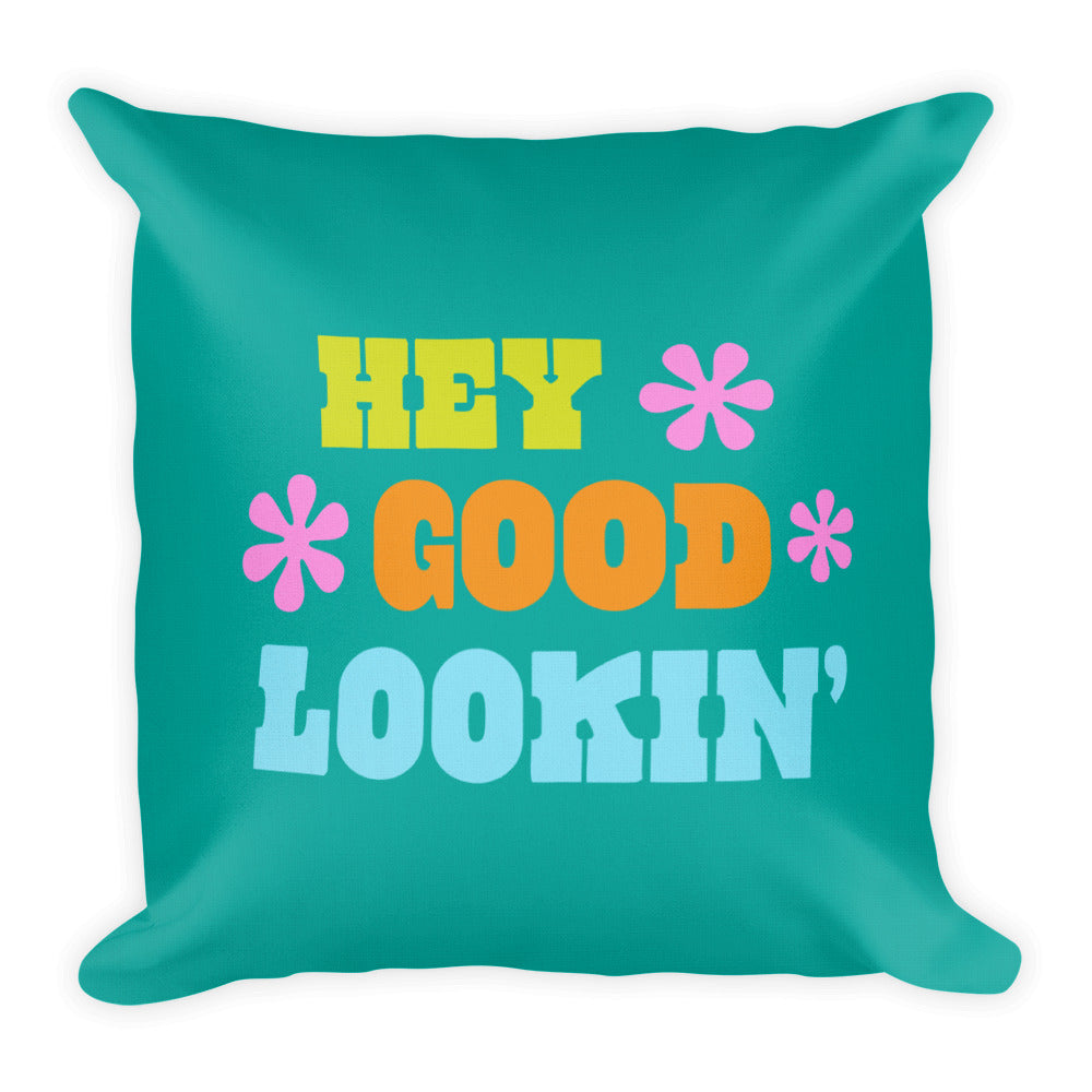 Hey Good Lookin' Retro Square Throw Pillow