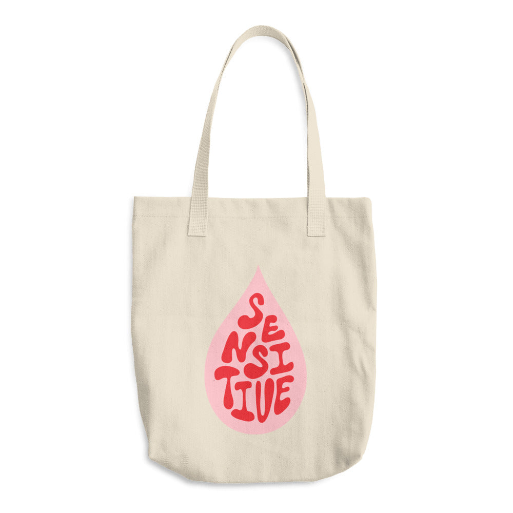 Sensitive (pink) Hand Lettered Cotton Tote Bag