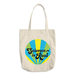 Science is Real (blue) Cotton Tote Bag