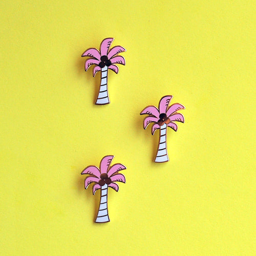 Pink Palm Tree Enamel Pin