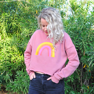 Rainbow Crop Sweatshirt in Mauve or Black