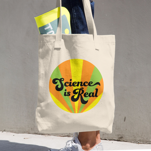Science is Real (orange) Cotton Tote Bag