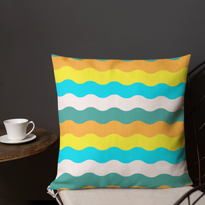 Wavy Stripes Throw Pillow- Blue (2 size options)