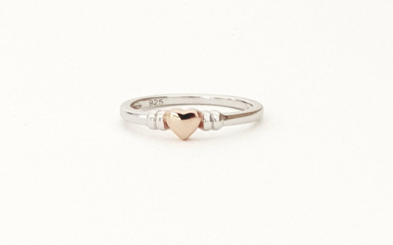 Sterling Silver Two Tone Heart Ring