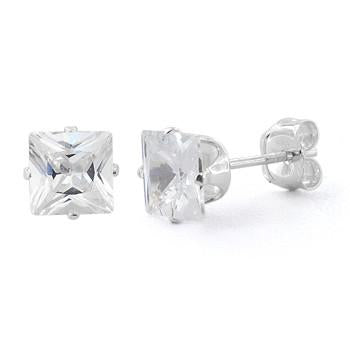 Sterling Silver 7mm Cubic Zirconia Studs