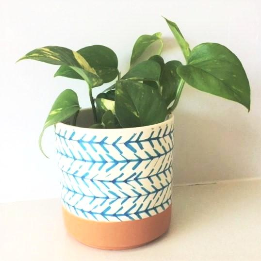 Terracotta Arrow Print Ceramic Pot