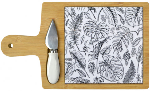 Bamboo & Ceramic Tropical Board with Cheese Knife