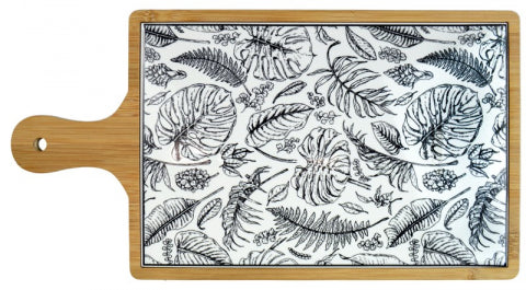 Bamboo & Ceramic Tropical Leaf Design Board