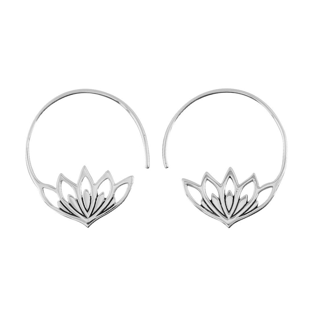 Sterling Silver Blossom Hoops