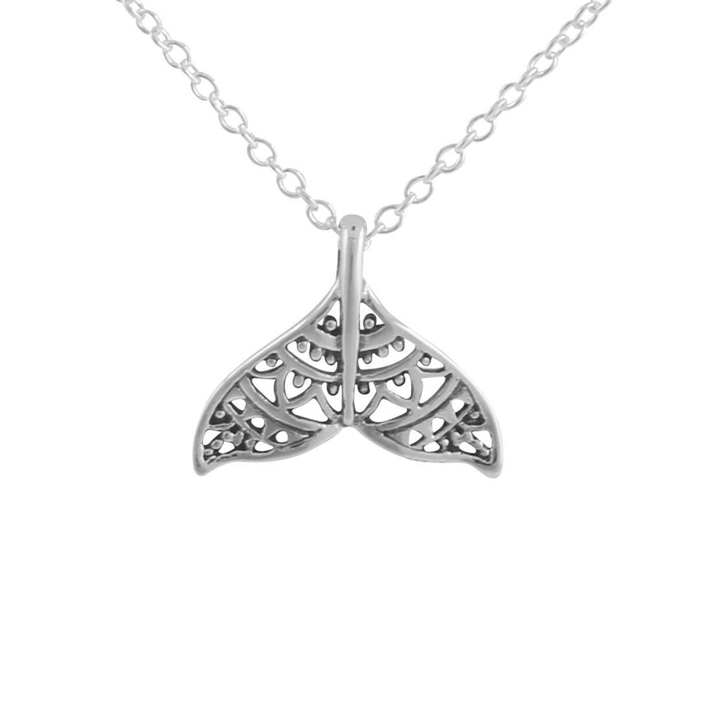 Sterling Silver Dainty Mandala Dolphin Tail Necklace