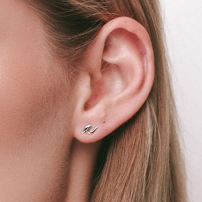 Sterling Silver Dainty Wave Studs