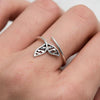 Sterling Silver Mandala Dolphin Tail Ring