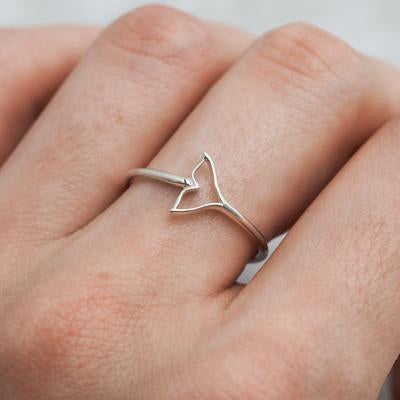 Sterling Silver Minke Whale Tail Ring