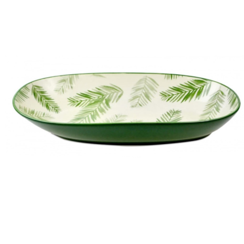 Ceramic Tropical Fern & Leaf Bowl