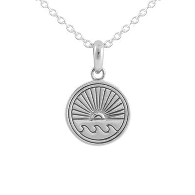 Sterling Silver Ocean Horizon Medallion Necklace