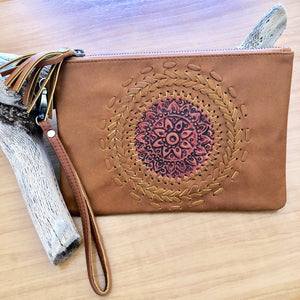 Tan Mandella Boho Leather Clutch