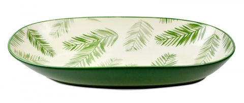 Tropical Green and Fern Leaf Bowl 29.5cm