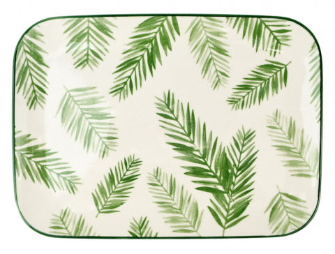 Tropical Green and Fern Leaf Platter 35.5cm