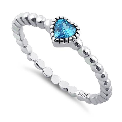 Sterling Silver Topaz Heart Ring