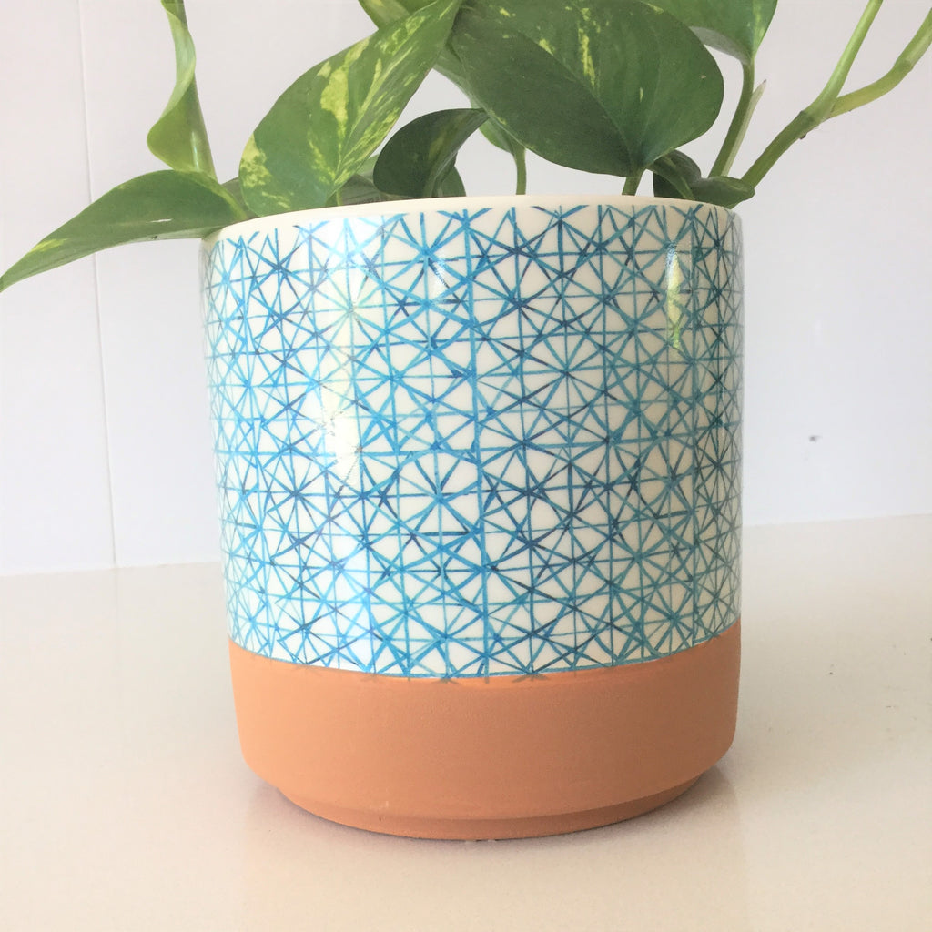 Terracotta Geo Print Ceramic Pot